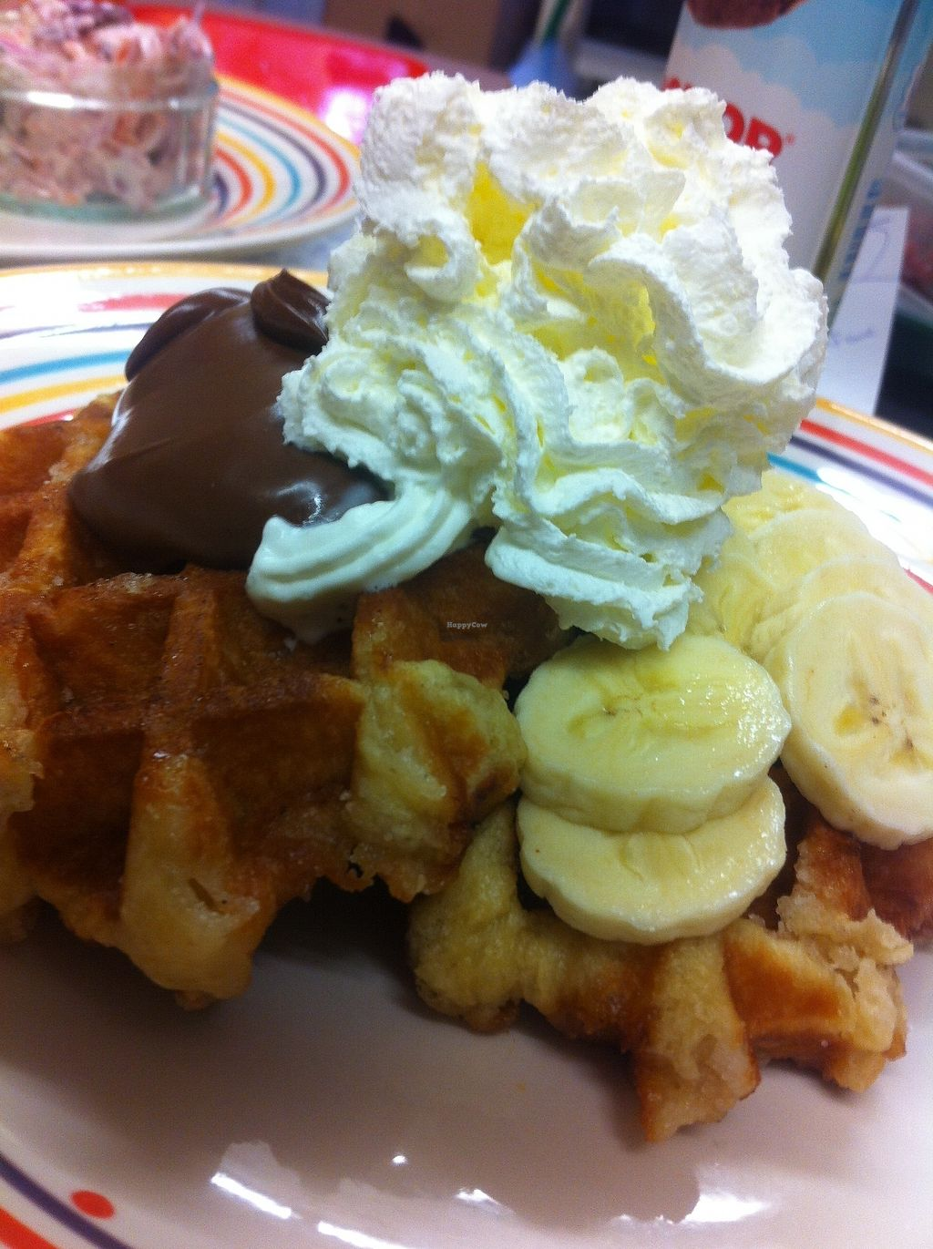 """Photo of Rock Ola  by <a href=""""/members/profile/Rocknroll"""">Rocknroll</a> <br/>Waffles with banana, Nutella and whipped cream for the veggies.We are working on a vegan waffle recipe....Coming soon! <br/> July 18, 2017  - <a href='/contact/abuse/image/28402/281818'>Report</a>"""