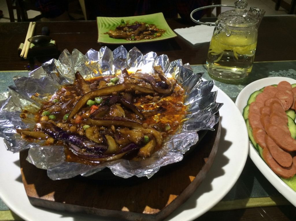 "Photo of Fu Hui Ci Yuan Vegetarian Cultural Restaurant  by <a href=""/members/profile/Meghlake"">Meghlake</a> <br/>eggplant and cold sausage  <br/> May 5, 2016  - <a href='/contact/abuse/image/28431/147548'>Report</a>"
