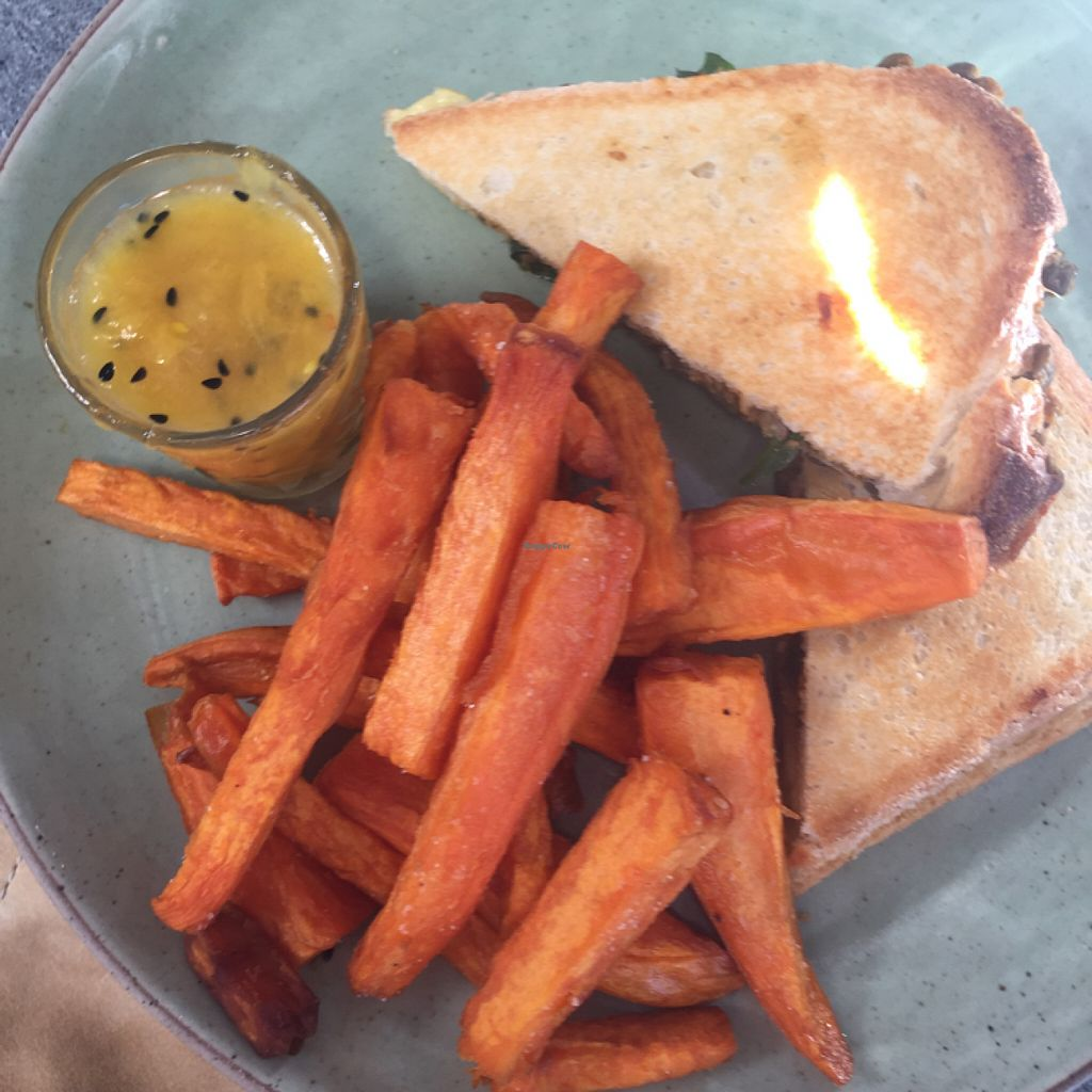 """Photo of The Cardamom Pod - The Brickworks Centre  by <a href=""""/members/profile/candybaaby"""">candybaaby</a> <br/>French lentil dhal and cheese toasty with sweet pot fries and mango chutney <br/> June 19, 2016  - <a href='/contact/abuse/image/28442/154876'>Report</a>"""