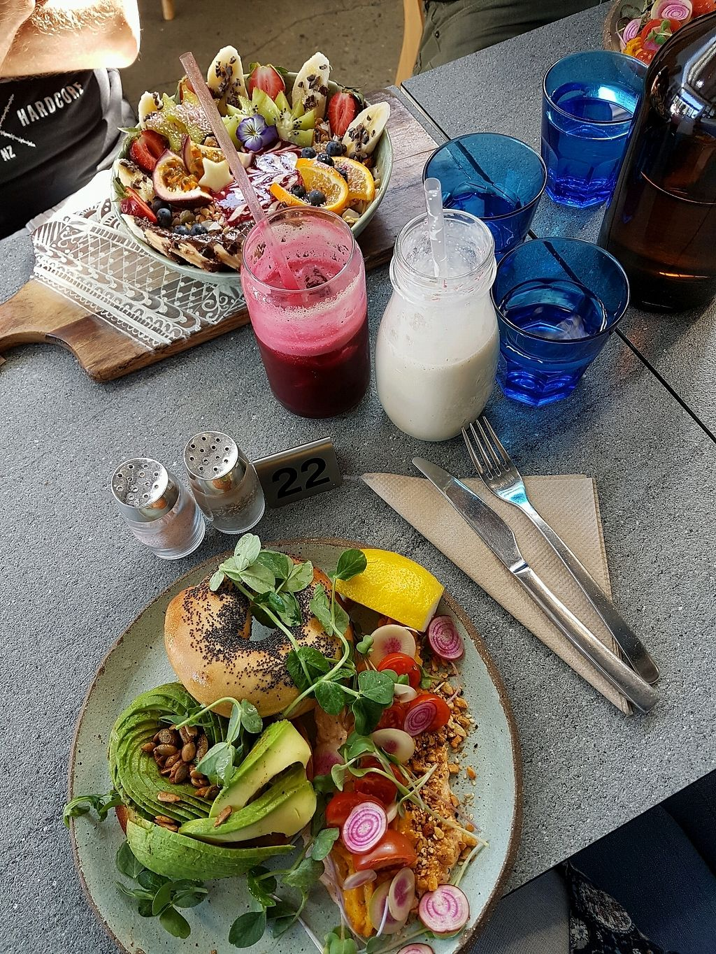 """Photo of The Cardamom Pod - The Brickworks Centre  by <a href=""""/members/profile/katiebarriball"""">katiebarriball</a> <br/>Avo-Bagel & PB Smoothie Bowl <br/> September 23, 2017  - <a href='/contact/abuse/image/28442/307552'>Report</a>"""
