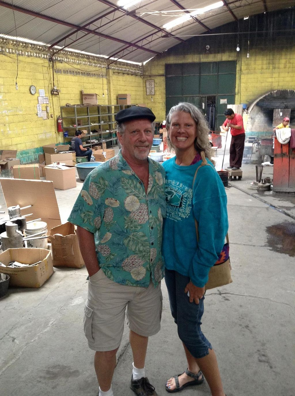"""Photo of Lake Villa Guatemala Vegan Retreats  by <a href=""""/members/profile/DouglasHaynes"""">DouglasHaynes</a> <br/>Traci and Mark at the glass factory <br/> April 16, 2014  - <a href='/contact/abuse/image/28451/67740'>Report</a>"""