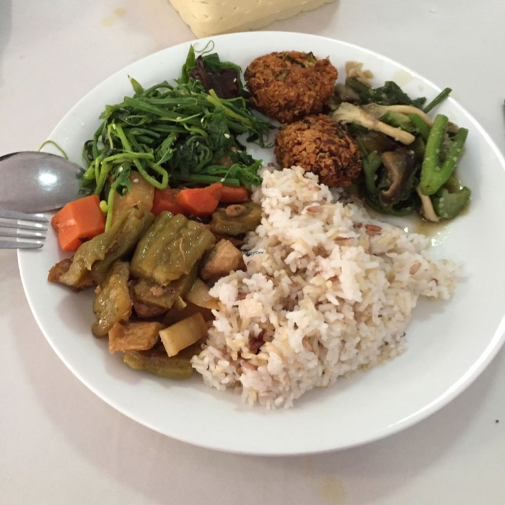 """Photo of Phounsub Restaurant  by <a href=""""/members/profile/Lucas_plantbased"""">Lucas_plantbased</a> <br/>yummy and healthy options! thumbs up!! <br/> May 19, 2016  - <a href='/contact/abuse/image/28485/149784'>Report</a>"""