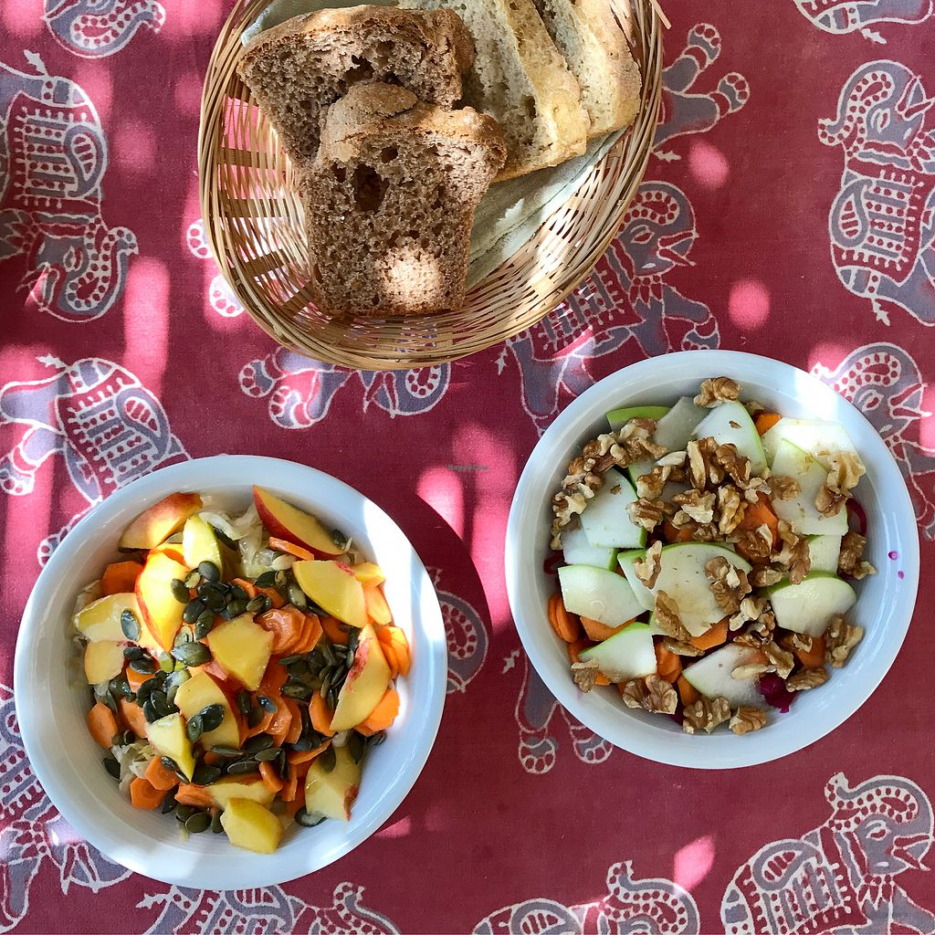 """Photo of Anna's Organic Shop and Garden Cafe  by <a href=""""/members/profile/thecharlotte"""">thecharlotte</a> <br/>Two kinds of raw vegan salad <br/> August 21, 2017  - <a href='/contact/abuse/image/28486/295056'>Report</a>"""