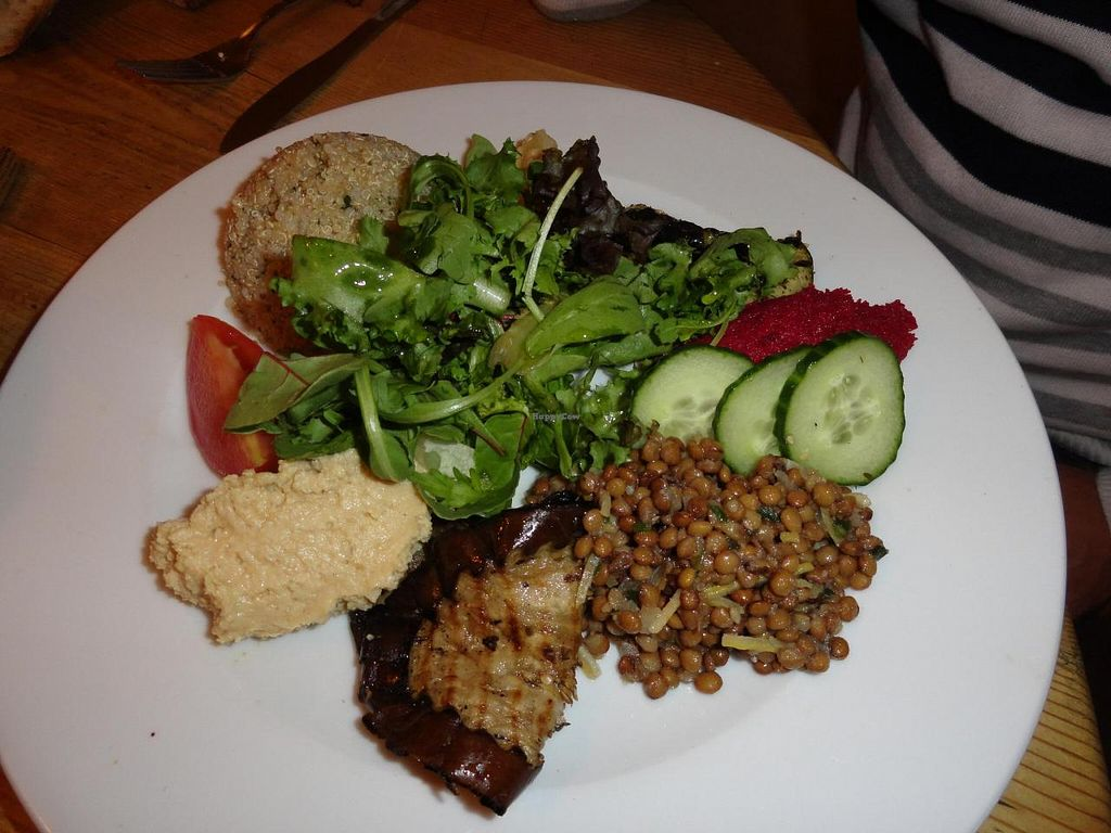 "Photo of CLOSED: Le Pain Quotidien - Philip Stockstraat  by <a href=""/members/profile/JonJon"">JonJon</a> <br/>Plate of hummus, lentils, grilled eggplant, salad, quinoa and beetroot cream <br/> August 23, 2014  - <a href='/contact/abuse/image/28514/77988'>Report</a>"