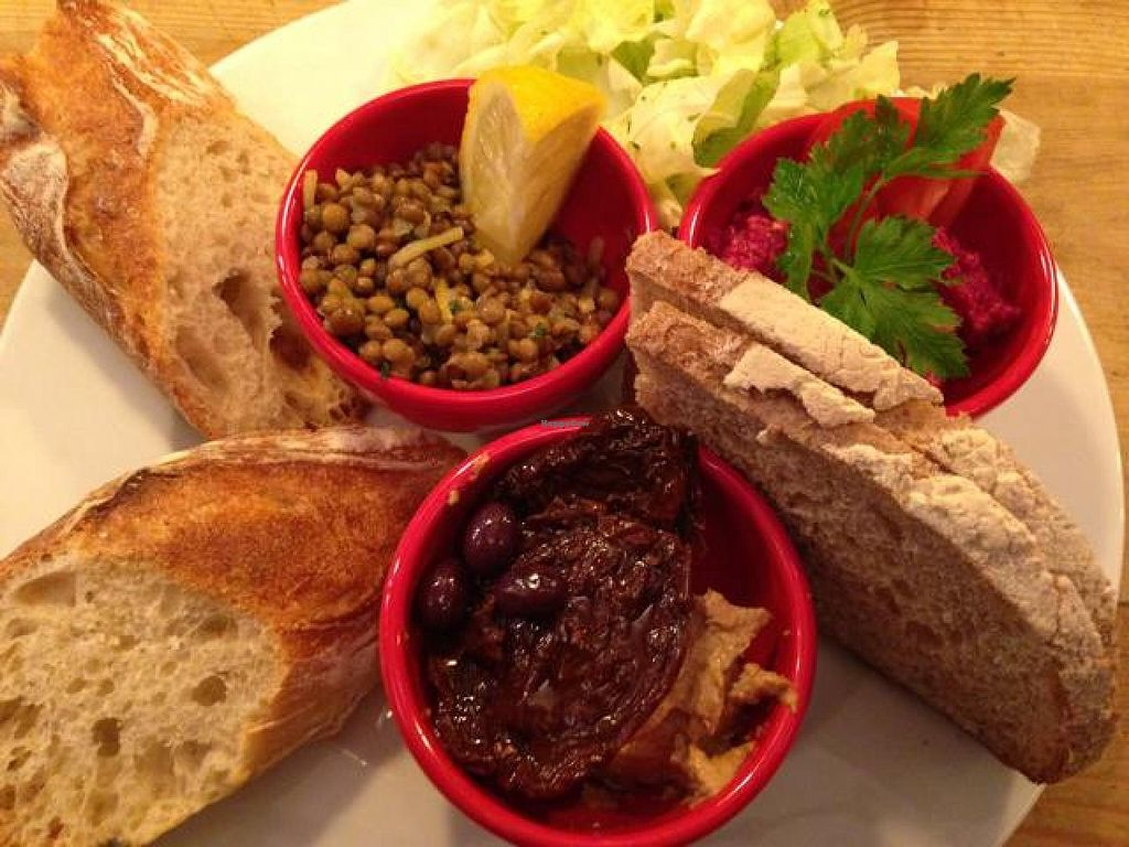 "Photo of CLOSED: Le Pain Quotidien - Philip Stockstraat  by <a href=""/members/profile/vegankt"">vegankt</a> <br/>Lentils with lemon zest, beetroot cream, tahini spread, sun dried tomatoes, olives, lettuce, and lots of bread. Very delicious!  <br/> October 7, 2014  - <a href='/contact/abuse/image/28514/82392'>Report</a>"