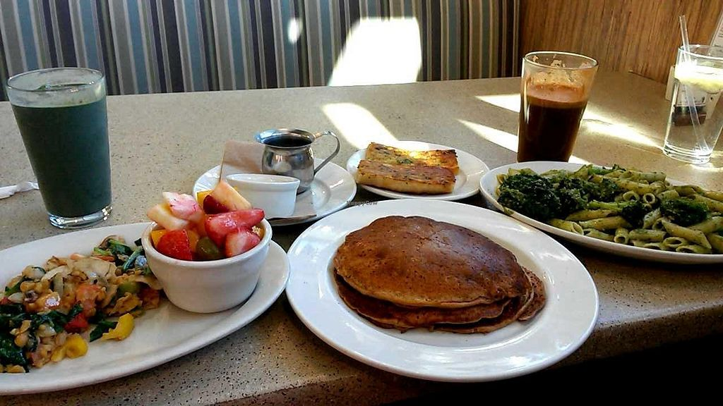 """Photo of Mother's Market & Kitchen - Brea  by <a href=""""/members/profile/LiilyPadd"""">LiilyPadd</a> <br/>Gluten free pumpkin flaps, chickpea scramble with fruit, Ma's pesto pasta, grasshopper shake and goddess juice. All vegan of course. :) <br/> November 12, 2014  - <a href='/contact/abuse/image/28564/85247'>Report</a>"""