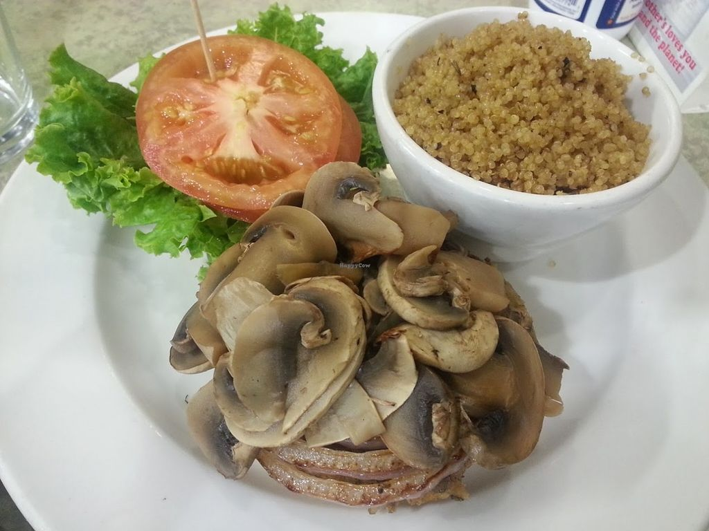 """Photo of Mother's Market Kitchen - Irvine  by <a href=""""/members/profile/CTerrwyn"""">CTerrwyn</a> <br/>Jaime's amazing burger with added mushrooms and a side of lemon quinoa <br/> August 31, 2015  - <a href='/contact/abuse/image/28569/115981'>Report</a>"""