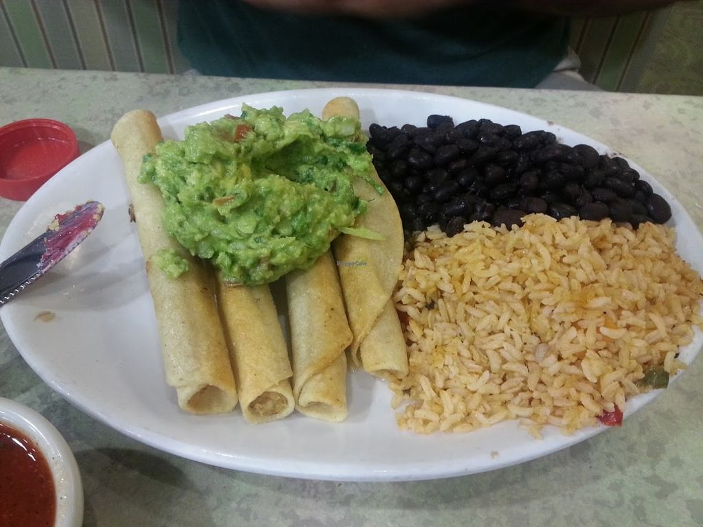 """Photo of Mother's Market Kitchen - Irvine  by <a href=""""/members/profile/CTerrwyn"""">CTerrwyn</a> <br/>Soy chicken taquitos with rice, beans, and guacamole <br/> August 31, 2015  - <a href='/contact/abuse/image/28569/115982'>Report</a>"""