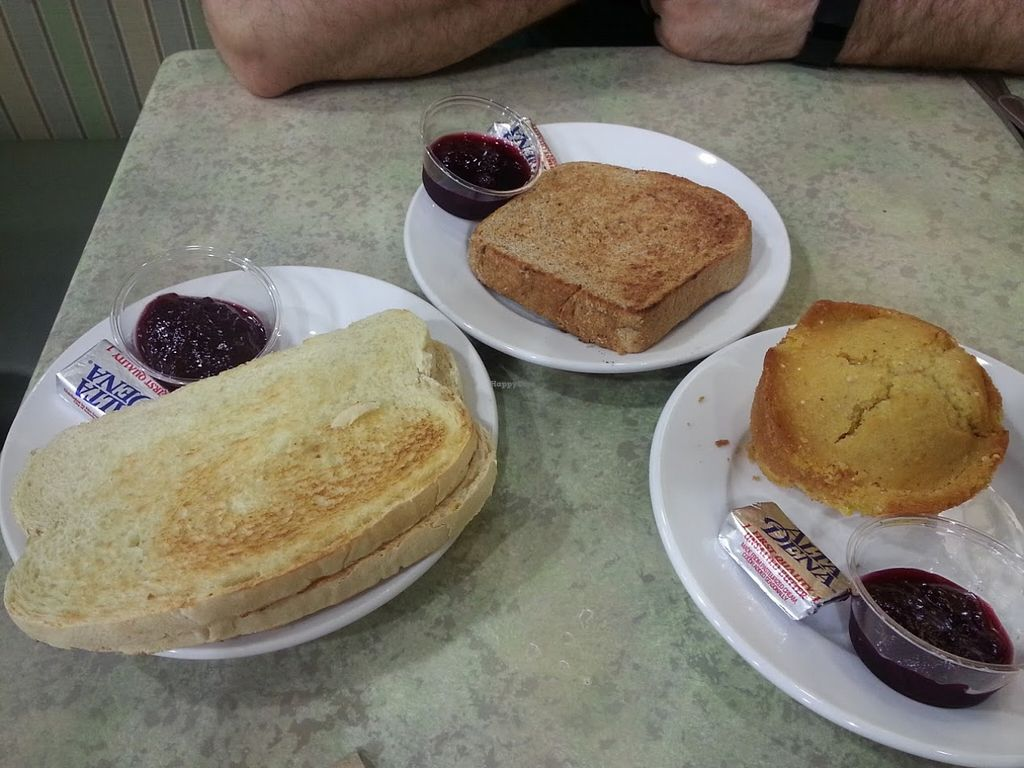 """Photo of Mother's Market Kitchen - Irvine  by <a href=""""/members/profile/CTerrwyn"""">CTerrwyn</a> <br/>From left to right: sourdough bread, ma's toast, and cornbread. The strawberry jam was amazing! <br/> August 31, 2015  - <a href='/contact/abuse/image/28569/115983'>Report</a>"""