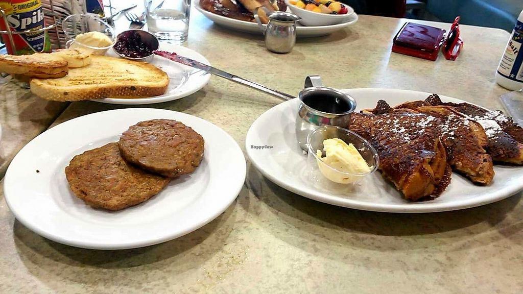 """Photo of Mother's Market Kitchen - Irvine  by <a href=""""/members/profile/LiilyPadd"""">LiilyPadd</a> <br/>French toast and veggie sausage <br/> February 2, 2015  - <a href='/contact/abuse/image/28569/92008'>Report</a>"""