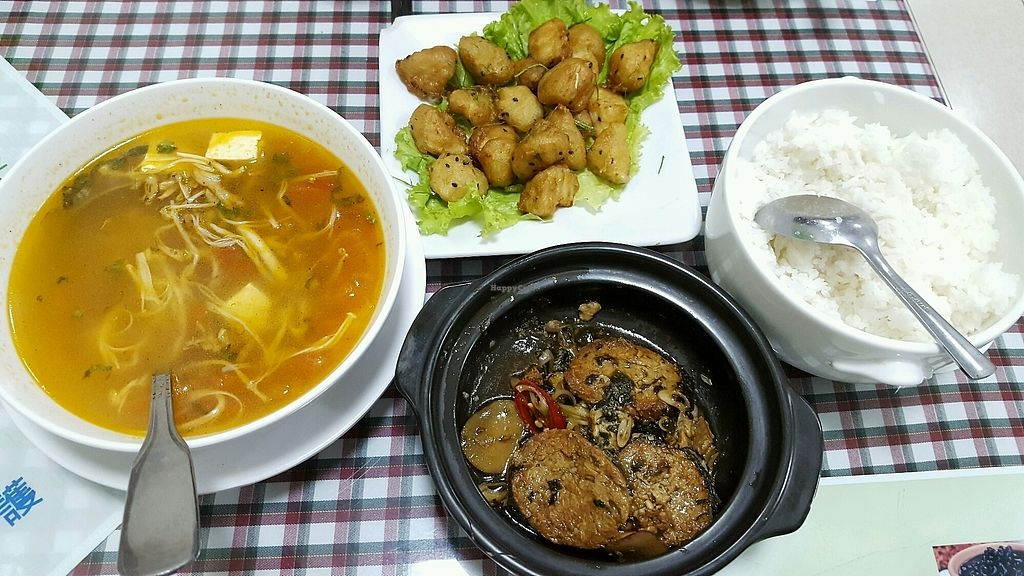 """Photo of Ho Tay  by <a href=""""/members/profile/Trambau"""">Trambau</a> <br/>veg fish stew with lemongrass, oriental canna and chili (vegfish homemade from seaweed and soybean sheets), salted veg chicken stirfired (what actually was floured king oyster mushrooms fries with black seasames and lemon leaves) and sour mushroom soup <br/> April 17, 2018  - <a href='/contact/abuse/image/28603/387002'>Report</a>"""