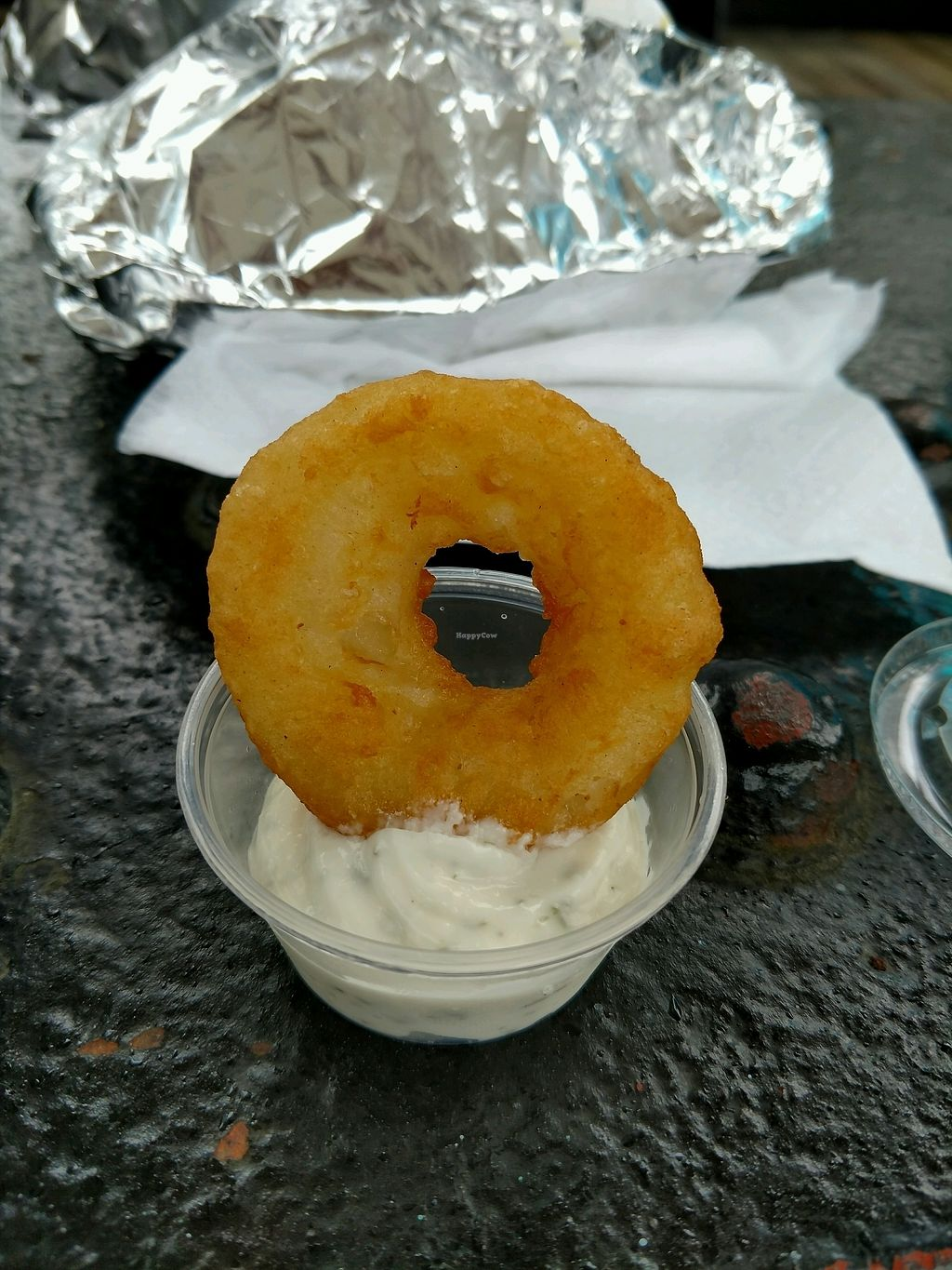 """Photo of CLOSED: Loving Hut Express - Food Cart  by <a href=""""/members/profile/MrsBAJ"""">MrsBAJ</a> <br/>onion rings of heaven <br/> September 12, 2017  - <a href='/contact/abuse/image/28607/303836'>Report</a>"""