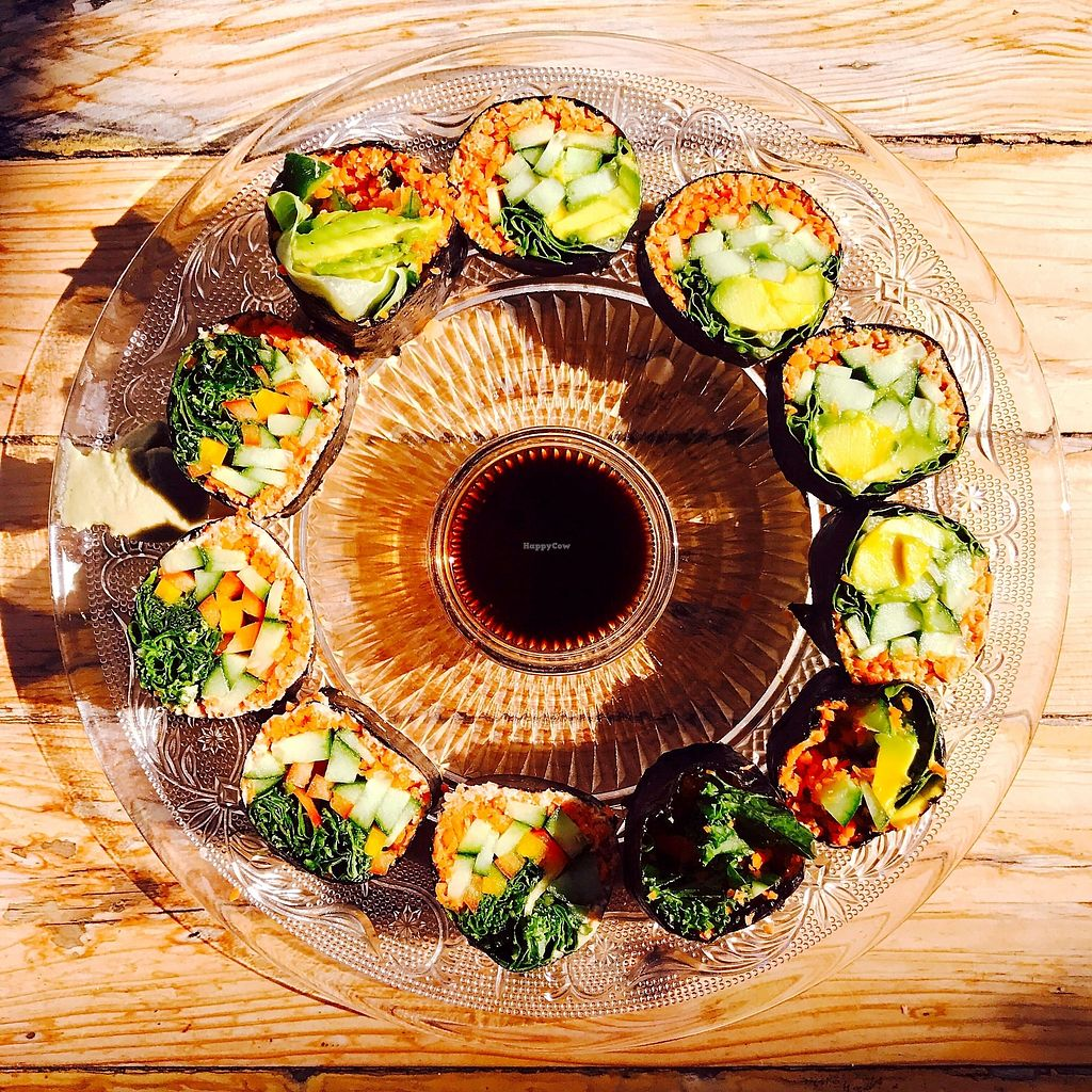 """Photo of Neroli Organic Juice Bar and Rawfood Diner  by <a href=""""/members/profile/batman_is_vegan"""">batman_is_vegan</a> <br/>Raw vegan sushi <br/> September 17, 2017  - <a href='/contact/abuse/image/28747/305492'>Report</a>"""