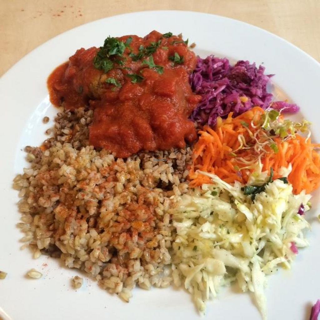 """Photo of Green Way Food For Life  by <a href=""""/members/profile/bencamps"""">bencamps</a> <br/>Chops made with Chickpea, with Indian tomato sauce, whole grain rice, buckwheat and 3 salads. Yum yum!! <br/> May 20, 2014  - <a href='/contact/abuse/image/28775/70344'>Report</a>"""
