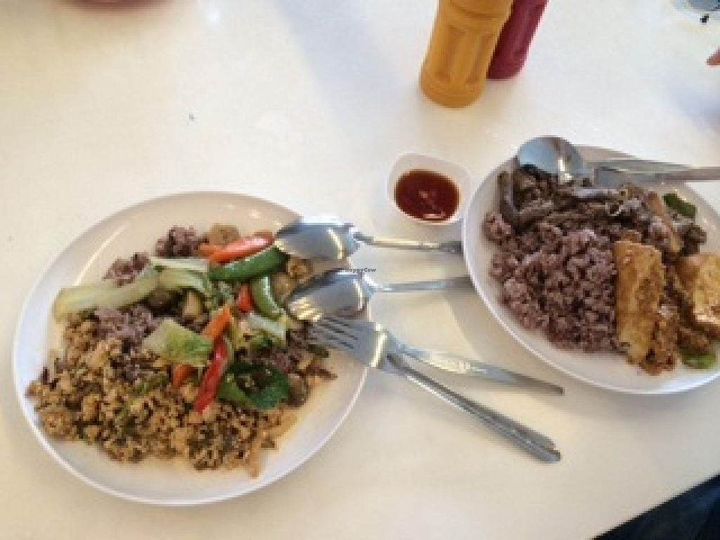 """Photo of CLOSED: Baan Suan Pai  by <a href=""""/members/profile/Plantpower"""">Plantpower</a> <br/>Rice with choice of 2 dishes <br/> January 13, 2015  - <a href='/contact/abuse/image/28819/90291'>Report</a>"""