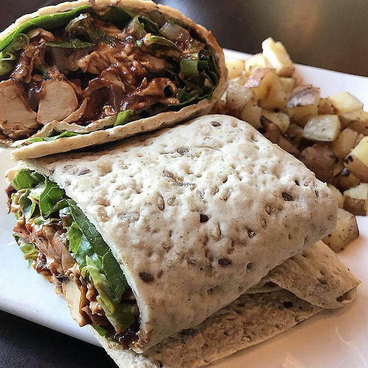 """Photo of EVO Kitchen  by <a href=""""/members/profile/MeganCasas"""">MeganCasas</a> <br/>BBQ tofu wrap with roasted potatoes <br/> November 29, 2017  - <a href='/contact/abuse/image/28851/330425'>Report</a>"""