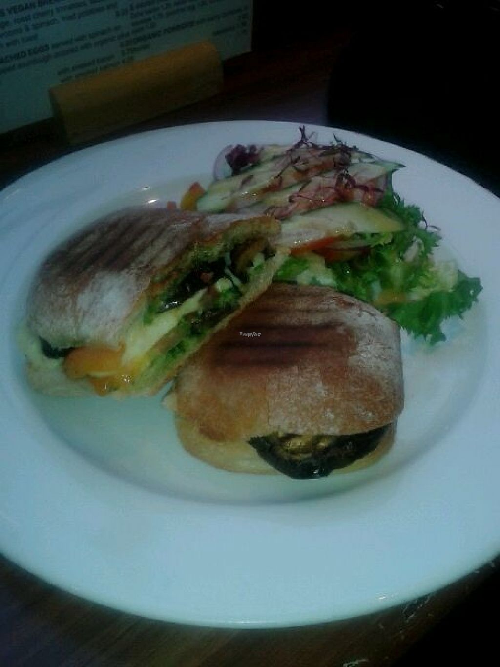 """Photo of Roots  Fruits and Flowers - Great Western Rd  by <a href=""""/members/profile/deadpledge"""">deadpledge</a> <br/>Vegan aubergine, cheese and roasted veg panini <br/> February 24, 2017  - <a href='/contact/abuse/image/28899/229922'>Report</a>"""