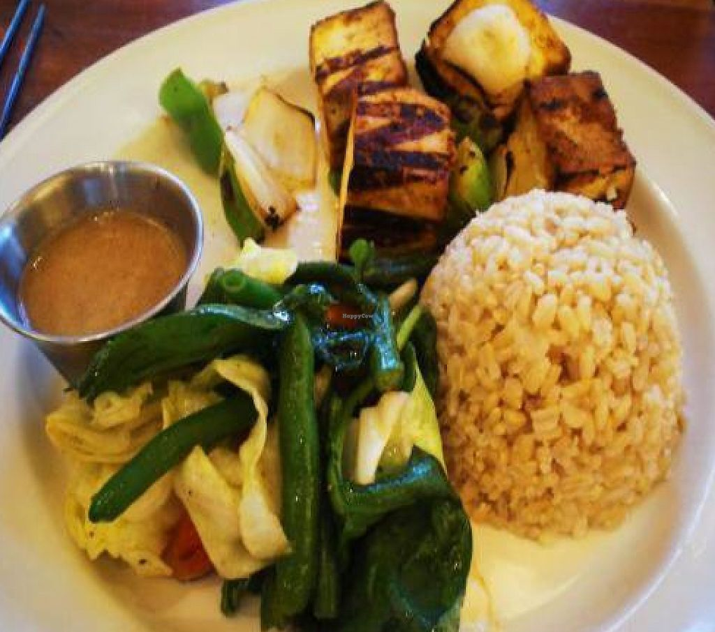 """Photo of Dobhan  by <a href=""""/members/profile/ali.seiter"""">ali.seiter</a> <br/>Tofu Secuwa: Grilled marinated tofu with choice of jasmine or brown rice and sauteed vegetables <br/> October 28, 2011  - <a href='/contact/abuse/image/28938/188520'>Report</a>"""