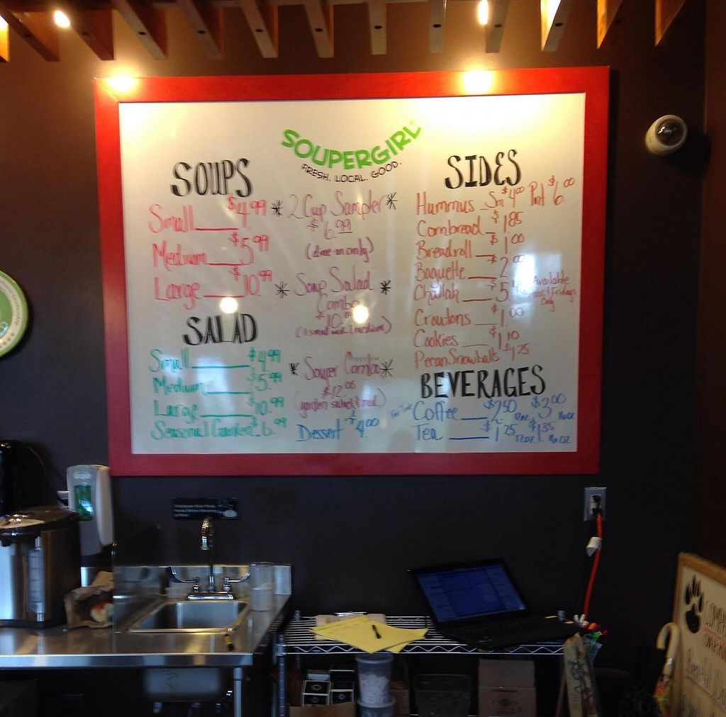 "Photo of Soupergirl - Takoma  by <a href=""/members/profile/cookiem"">cookiem</a> <br/>Menu board <br/> June 10, 2014  - <a href='/contact/abuse/image/28999/202137'>Report</a>"