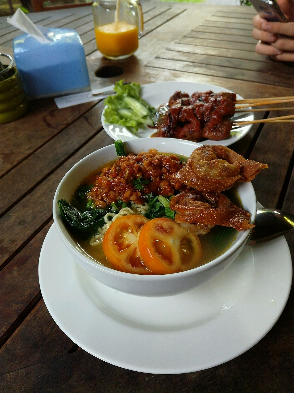 "Photo of Tasty Vegan - Seminyak  by <a href=""/members/profile/ViktorijaGor"">ViktorijaGor</a> <br/>Mie Kuah and Sate sticks  <br/> October 23, 2017  - <a href='/contact/abuse/image/29016/317932'>Report</a>"