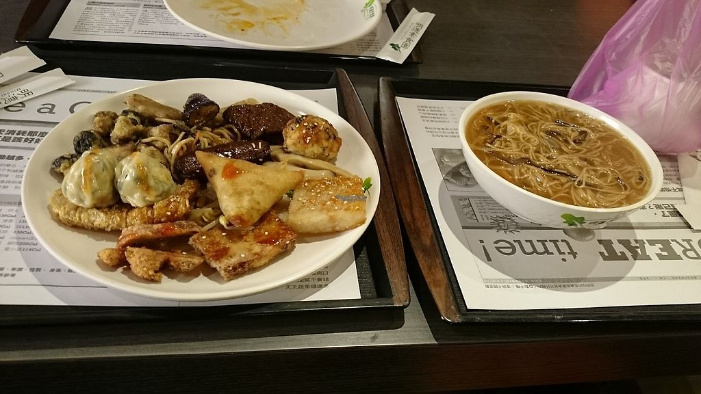 """Photo of Minder Vegetarian - Q Square Mall  by <a href=""""/members/profile/PeterSong"""">PeterSong</a> <br/>A plate of various vege foods and a bowl of delicious noodles!  <br/> November 16, 2016  - <a href='/contact/abuse/image/29036/190856'>Report</a>"""
