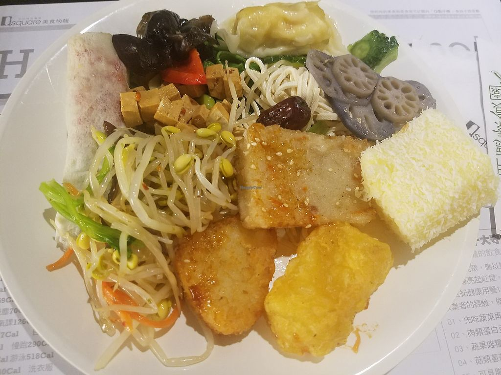 """Photo of Minder Vegetarian - Q Square Mall  by <a href=""""/members/profile/ReiAmber"""">ReiAmber</a> <br/>yellow square dessert on the right and fake meat roll on the upper left were the only things I couldn't tolerate <br/> May 8, 2018  - <a href='/contact/abuse/image/29036/397038'>Report</a>"""