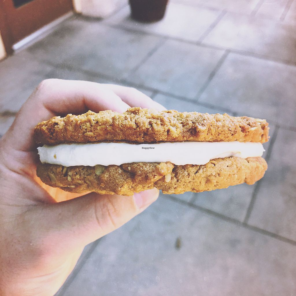 """Photo of Native Foods - Tigard  by <a href=""""/members/profile/NadenFamily"""">NadenFamily</a> <br/>Vegan cream filled cookie sandwich  <br/> October 28, 2017  - <a href='/contact/abuse/image/29043/319633'>Report</a>"""