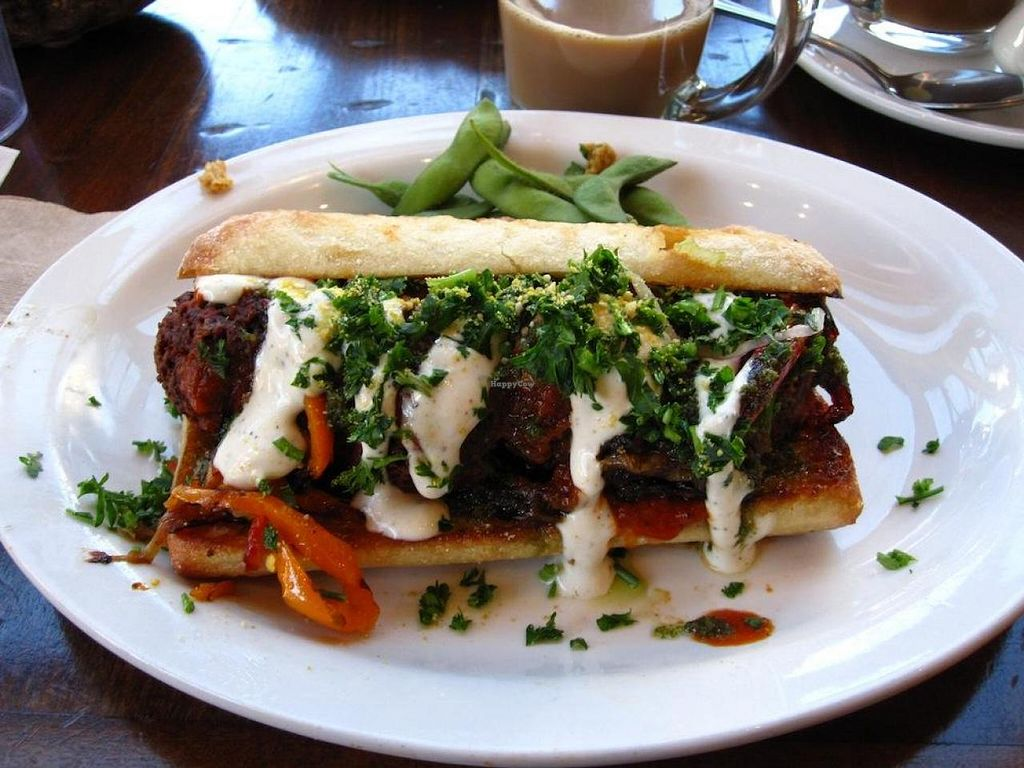 """Photo of Native Foods - Tigard  by <a href=""""/members/profile/vegan%20frog"""">vegan frog</a> <br/>Italian 'meatball sandwich' <br/> September 7, 2014  - <a href='/contact/abuse/image/29043/79368'>Report</a>"""