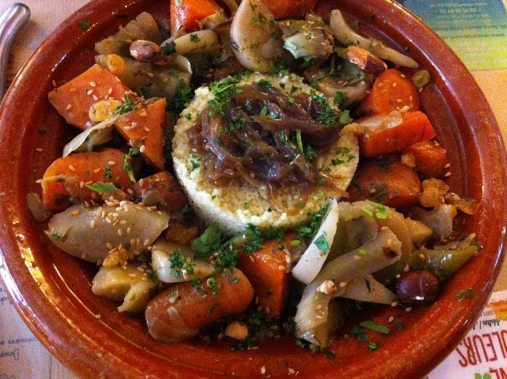 """Photo of Le Cours en Vert  by <a href=""""/members/profile/Marie%20Watisas"""">Marie Watisas</a> <br/>Vegetables tajine with almonds, sweet onions, semolina. vegan and delicious ! <br/> October 1, 2014  - <a href='/contact/abuse/image/29056/81765'>Report</a>"""
