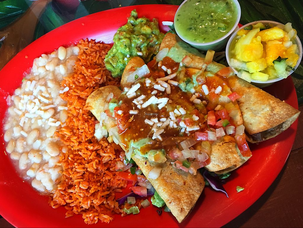 """Photo of El Papagayo  by <a href=""""/members/profile/the_happiestherbivore"""">the_happiestherbivore</a> <br/>Soyrizo and tofu taquitos with vegan rice and beans! <br/> May 31, 2017  - <a href='/contact/abuse/image/29059/264623'>Report</a>"""