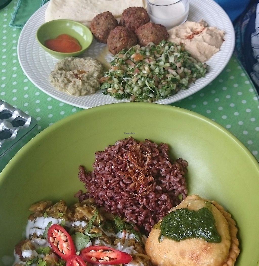 """Photo of Akar Cafe  by <a href=""""/members/profile/Cynthia1998"""">Cynthia1998</a> <br/>Vegan Indian chickpea, aubergine, spinach curry with samosa and red rice and the middle eastern platter <br/> December 8, 2016  - <a href='/contact/abuse/image/29077/267483'>Report</a>"""