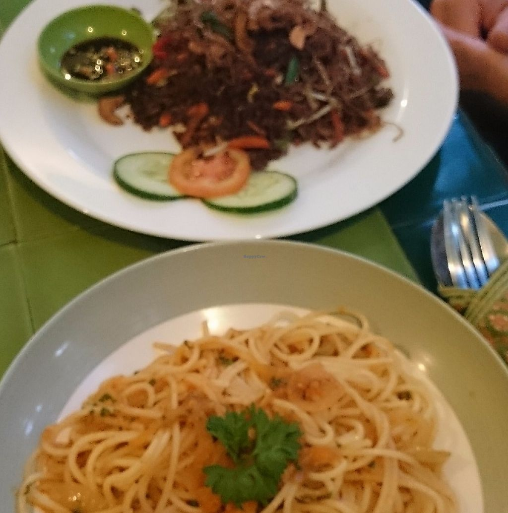 """Photo of Akar Cafe  by <a href=""""/members/profile/Cynthia1998"""">Cynthia1998</a> <br/>Balinese fried red rice with cashews and the vegan tomato chilli spaghetti <br/> December 8, 2016  - <a href='/contact/abuse/image/29077/267484'>Report</a>"""