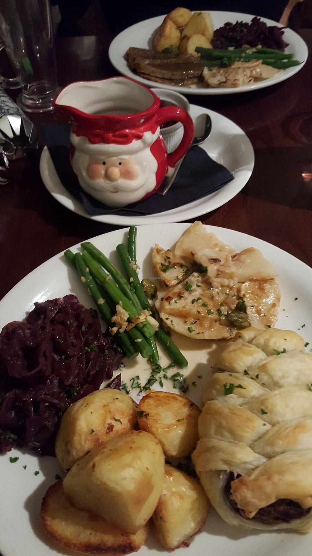 """Photo of Beanos  by <a href=""""/members/profile/VeganAnnaS"""">VeganAnnaS</a> <br/>Christmas lunch menu - savoury strudel with all the trimmings  <br/> December 3, 2017  - <a href='/contact/abuse/image/29081/331993'>Report</a>"""