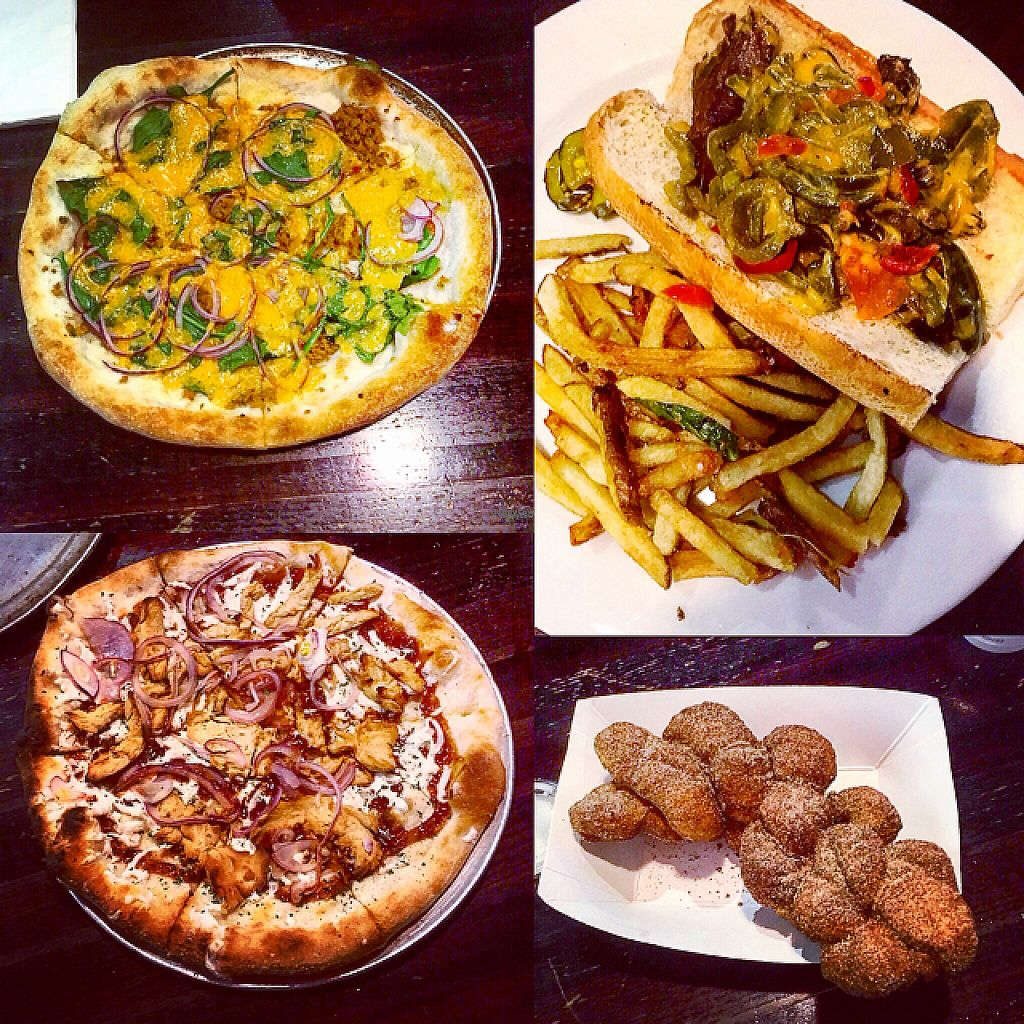 """Photo of Johnny Rads  by <a href=""""/members/profile/clarebear9"""">clarebear9</a> <br/>vegan hash pizza. BBQ """"chicken"""" pizza. Cheese steak sandwich. cinnamon doughnut  <br/> March 19, 2017  - <a href='/contact/abuse/image/29083/238267'>Report</a>"""