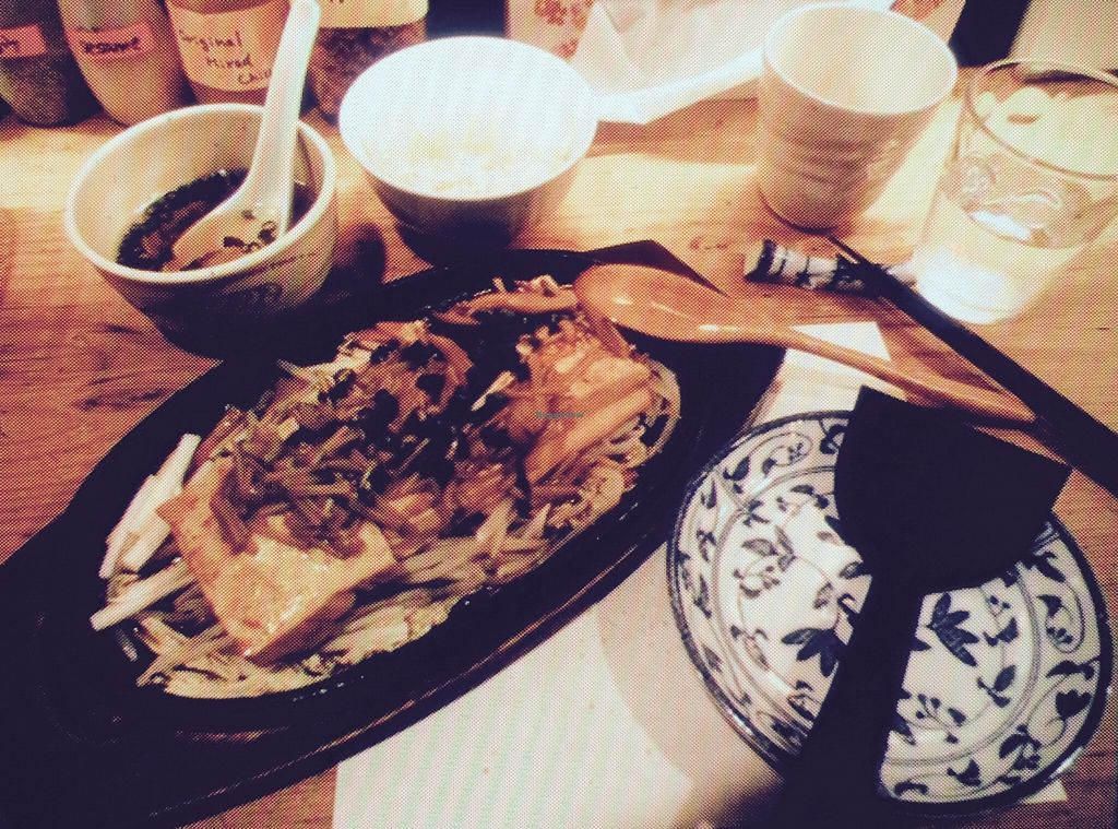 """Photo of Heianraku  by <a href=""""/members/profile/inken.mm"""">inken.mm</a> <br/>Tofu with sprouts and a mushroom sauce and rice and a soup as an appetizer <br/> May 13, 2016  - <a href='/contact/abuse/image/29092/148767'>Report</a>"""