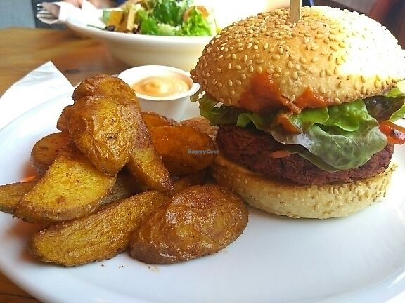 """Photo of EmmaPea Vegan Food and Bar  by <a href=""""/members/profile/Miggi"""">Miggi</a> <br/>Beet Burger <br/> June 11, 2017  - <a href='/contact/abuse/image/29099/267976'>Report</a>"""