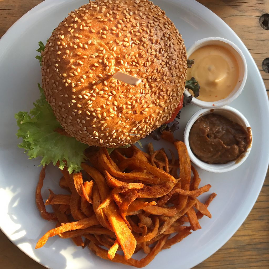 """Photo of EmmaPea Vegan Food and Bar  by <a href=""""/members/profile/The%20London%20Vegan"""">The London Vegan</a> <br/>Thai Pea Burger  <br/> July 29, 2017  - <a href='/contact/abuse/image/29099/286400'>Report</a>"""