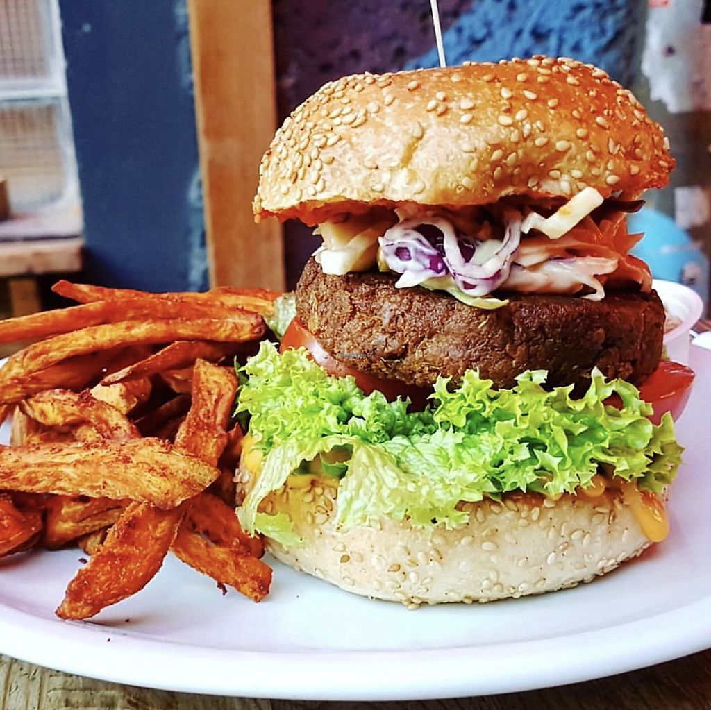 """Photo of EmmaPea Vegan Food and Bar  by <a href=""""/members/profile/dianakey"""">dianakey</a> <br/>Thai Pea Burger <br/> September 29, 2017  - <a href='/contact/abuse/image/29099/309688'>Report</a>"""