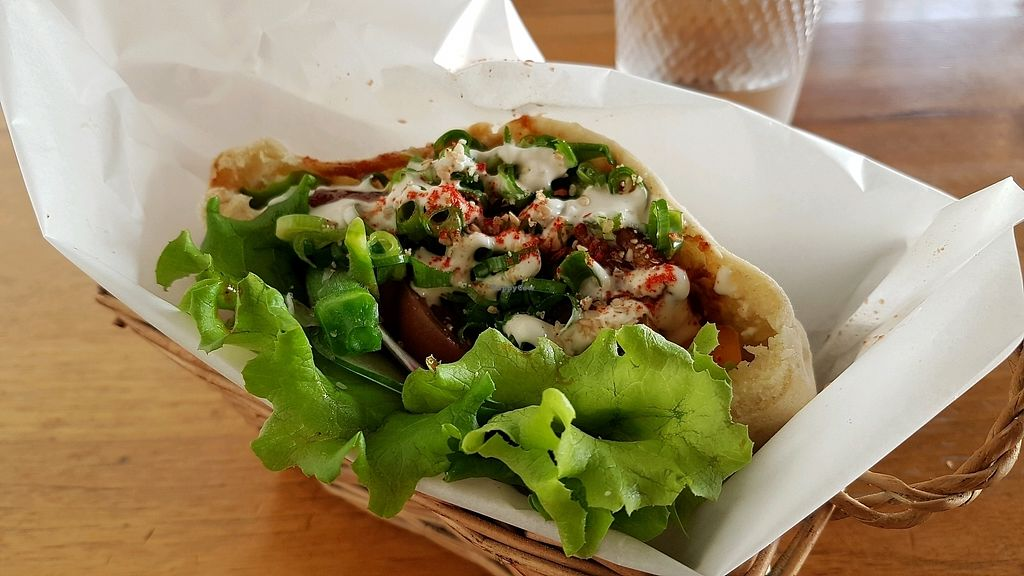 """Photo of Vegans Cafe and Restaurant  by <a href=""""/members/profile/aggiem"""">aggiem</a> <br/>Perhaps the best pita of my life soy-meat) <br/> September 8, 2017  - <a href='/contact/abuse/image/29114/302055'>Report</a>"""