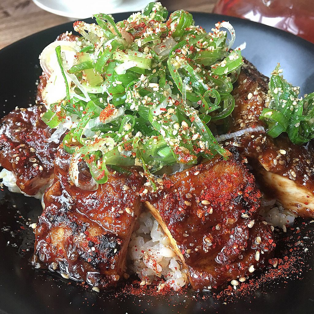 """Photo of Vegans Cafe and Restaurant  by <a href=""""/members/profile/kittybabe"""">kittybabe</a> <br/>BBQ TOFU BOWL  <br/> April 1, 2018  - <a href='/contact/abuse/image/29114/379128'>Report</a>"""
