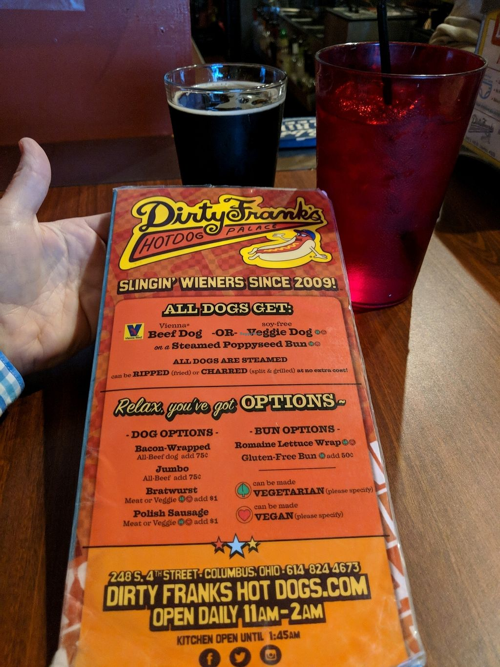 "Photo of Dirty Franks Hot Dog Palace  by <a href=""/members/profile/Toroco"">Toroco</a> <br/>Menu <br/> April 9, 2018  - <a href='/contact/abuse/image/29125/383088'>Report</a>"