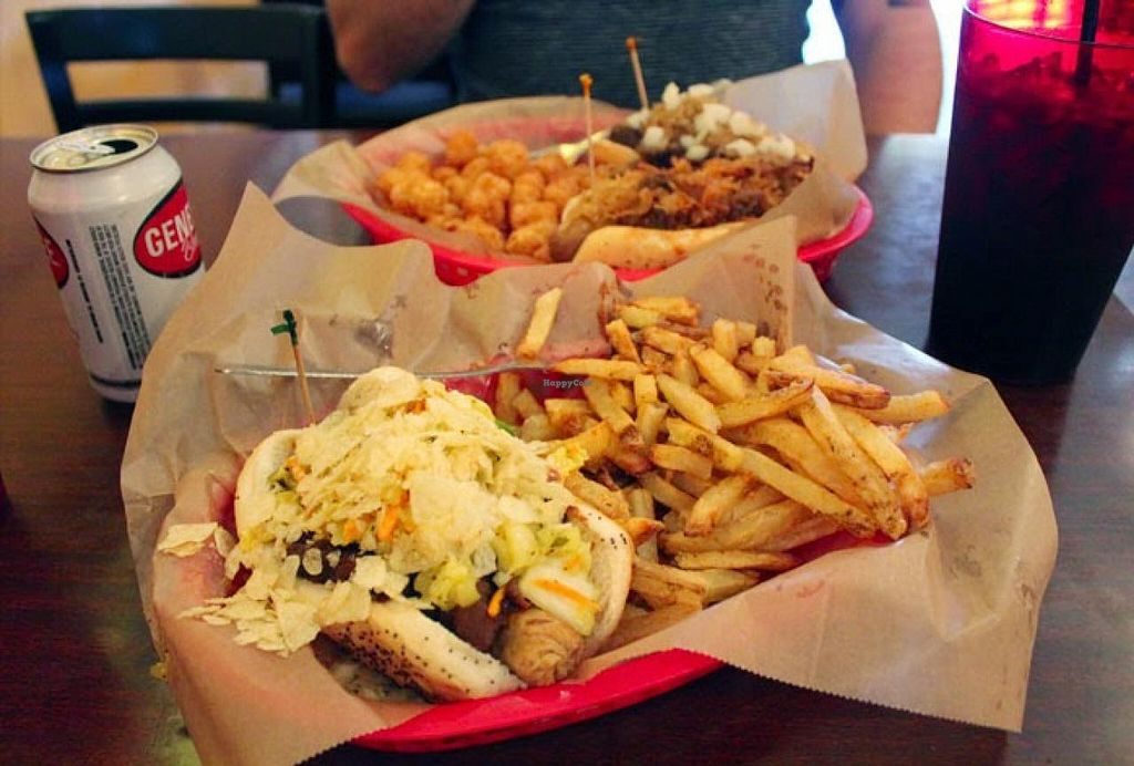 "Photo of Dirty Franks Hot Dog Palace  by <a href=""/members/profile/Raesock"">Raesock</a> <br/>vegan bratwurst and tots <br/> January 31, 2015  - <a href='/contact/abuse/image/29125/91843'>Report</a>"