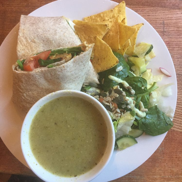 """Photo of Tea Sutra Teahouse  by <a href=""""/members/profile/KateEmmett"""">KateEmmett</a> <br/>burger wrap and soup  <br/> October 25, 2016  - <a href='/contact/abuse/image/29138/184366'>Report</a>"""