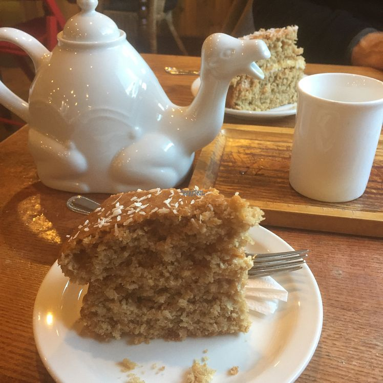 """Photo of Tea Sutra Teahouse  by <a href=""""/members/profile/KateEmmett"""">KateEmmett</a> <br/>coconut chai cake and tea for two  <br/> October 25, 2016  - <a href='/contact/abuse/image/29138/184367'>Report</a>"""