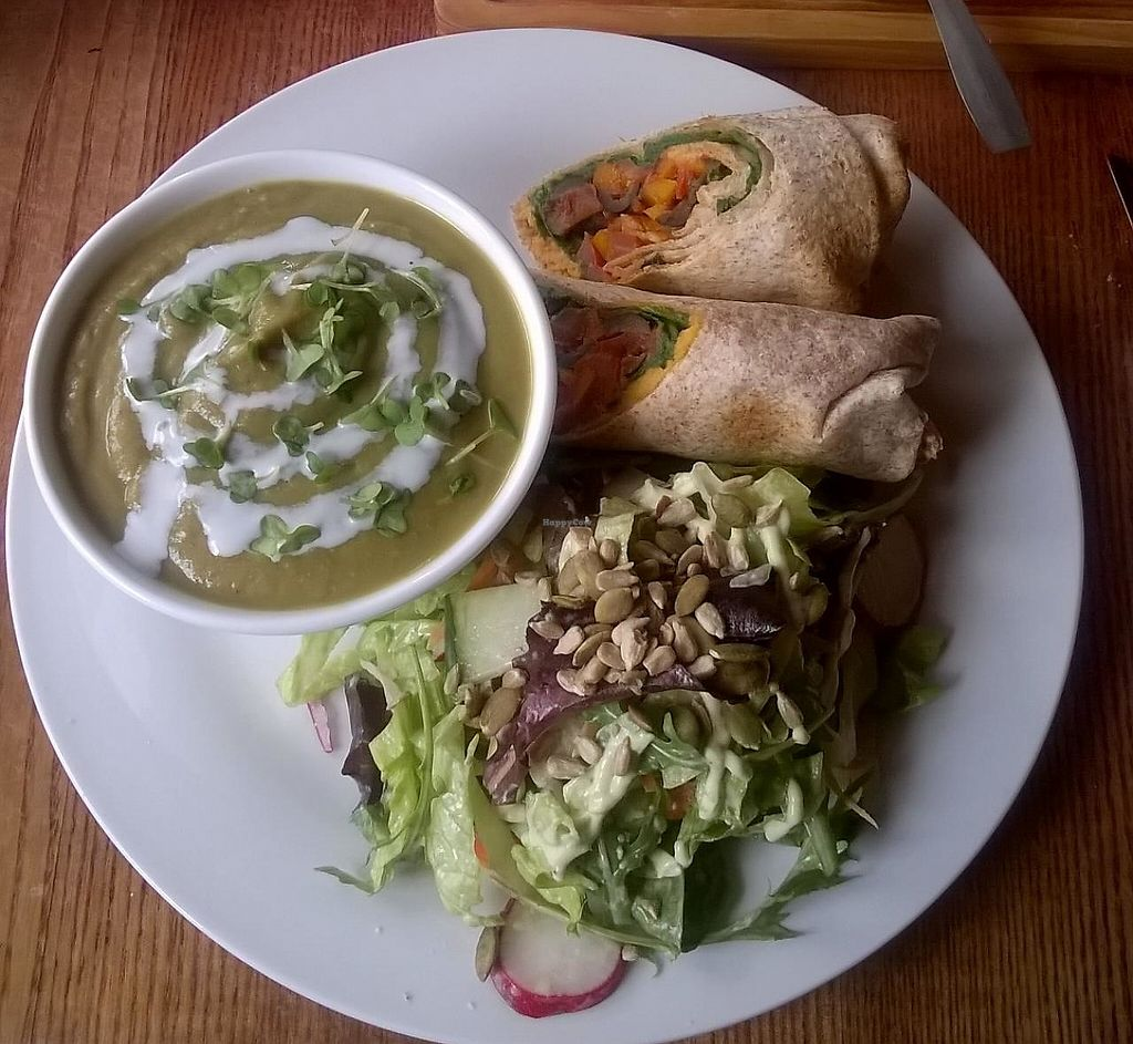 """Photo of Tea Sutra Teahouse  by <a href=""""/members/profile/deadpledge"""">deadpledge</a> <br/>Broccoli and Almond Soup with Hummus, spinach and roasted Mediterranean vegetable wrap <br/> July 10, 2015  - <a href='/contact/abuse/image/29138/194124'>Report</a>"""