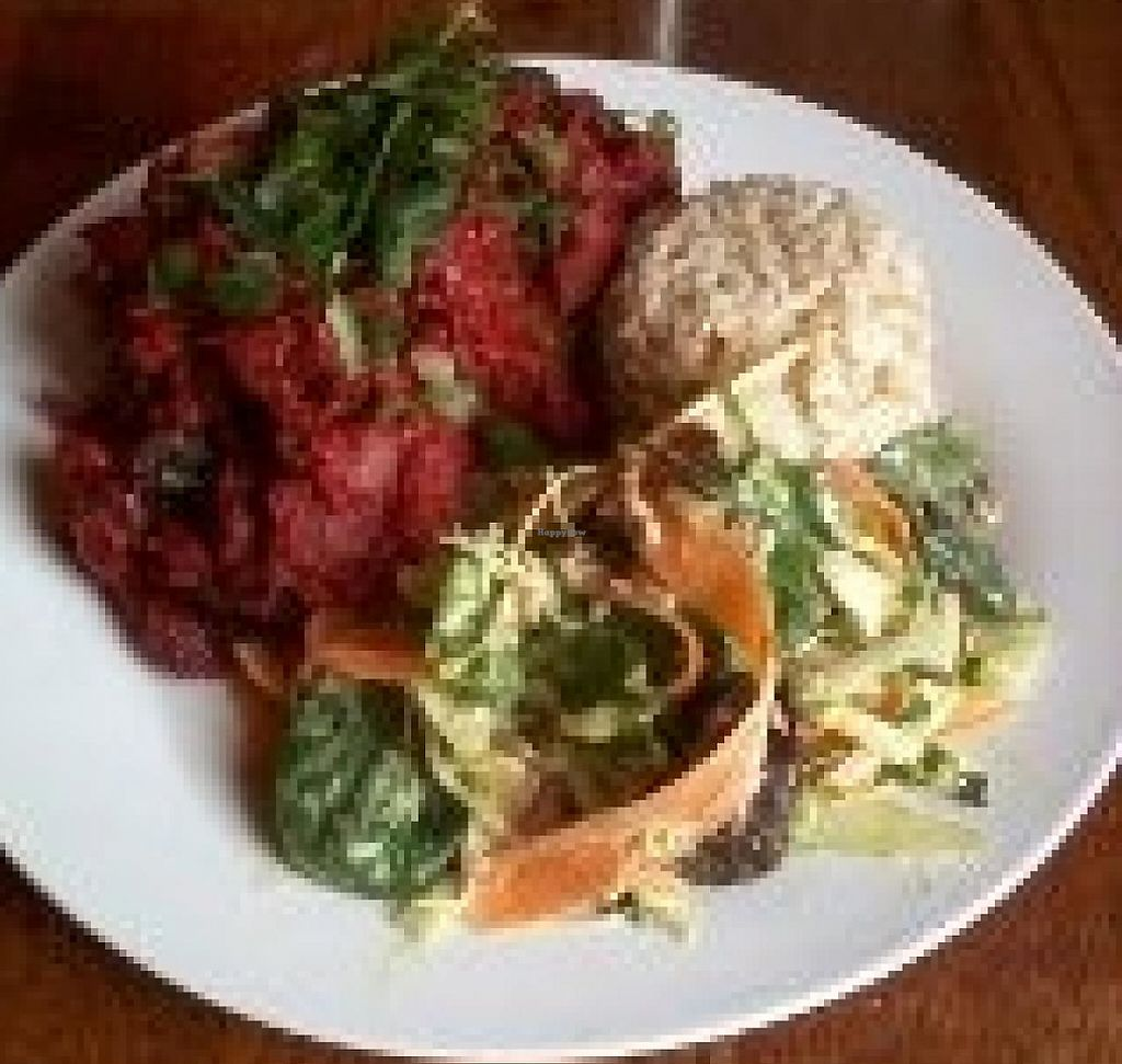"""Photo of Tea Sutra Teahouse  by <a href=""""/members/profile/deadpledge"""">deadpledge</a> <br/>Beetroot Balti with Brown Rice and Salad <br/> March 18, 2015  - <a href='/contact/abuse/image/29138/194125'>Report</a>"""