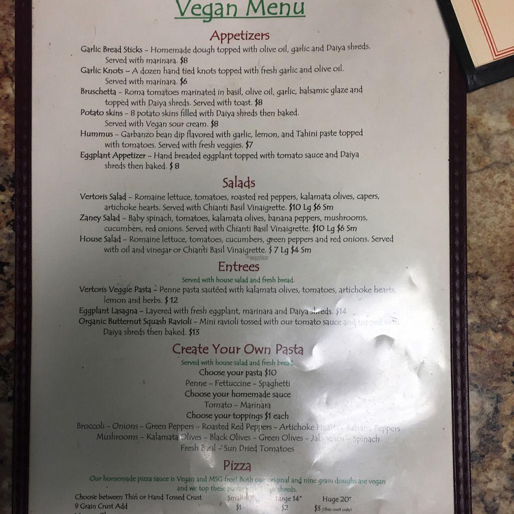 "Photo of Vertoris Pizza House  by <a href=""/members/profile/KristinaKnapp"">KristinaKnapp</a> <br/>vegan menu part 1 <br/> February 24, 2017  - <a href='/contact/abuse/image/29169/229838'>Report</a>"