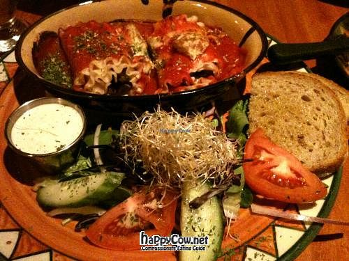 """Photo of Calactus Cafe  by <a href=""""/members/profile/TrayLanna"""">TrayLanna</a> <br/>Mushroom Cannelloni with tofu cream, and tofu cream balls instead of cheese. Garden salad, mayo dressing, garlic toast. *Bad phone camera <br/> March 9, 2012  - <a href='/contact/abuse/image/2916/29230'>Report</a>"""