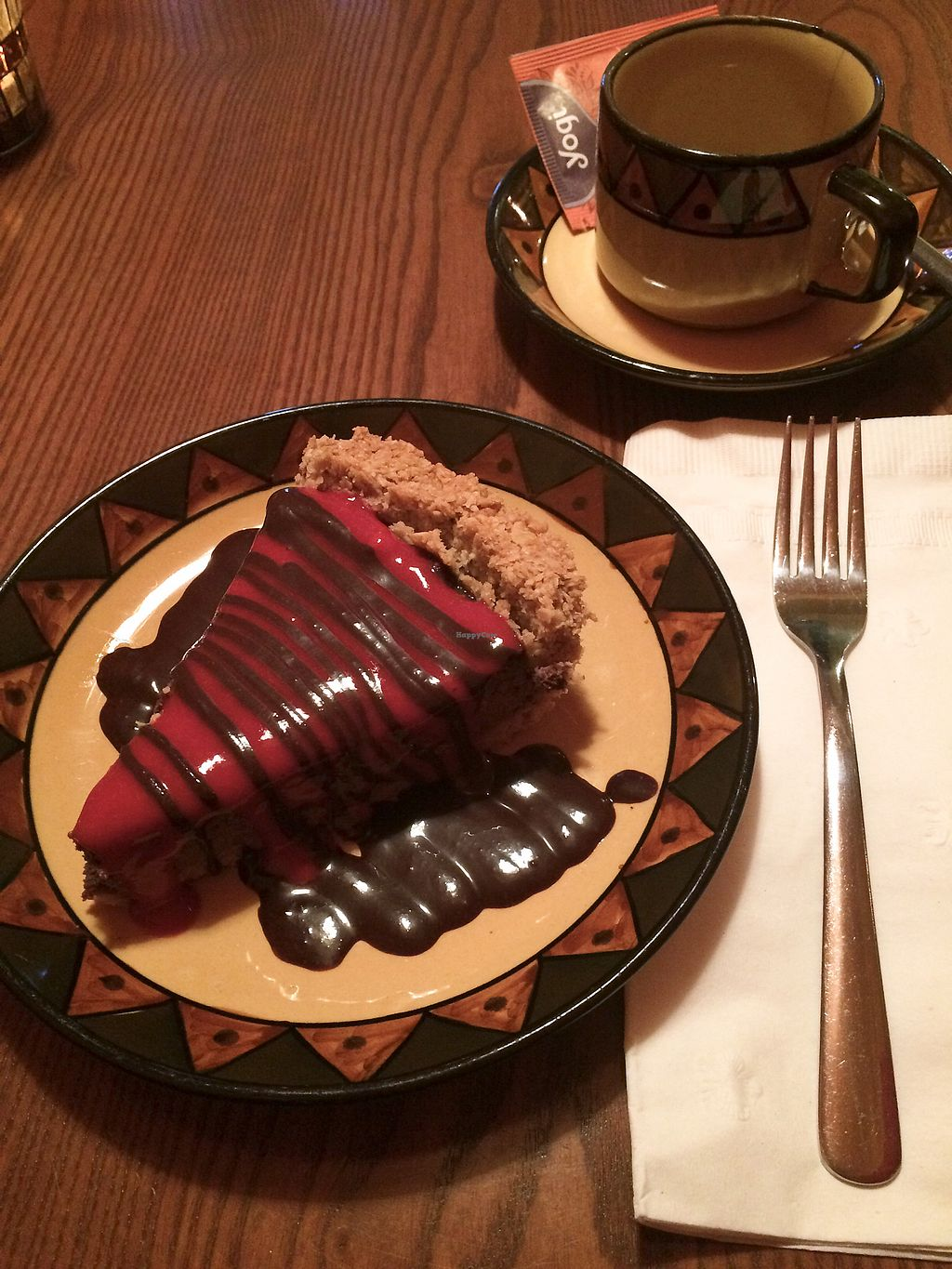 """Photo of Calactus Cafe  by <a href=""""/members/profile/MamaSinkins"""">MamaSinkins</a> <br/>Chocolate raspberry cream pie with chai tea <br/> April 4, 2018  - <a href='/contact/abuse/image/2916/380857'>Report</a>"""