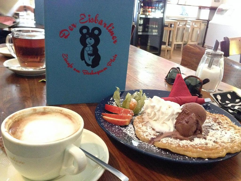 """Photo of Eisbarliner  by <a href=""""/members/profile/xsrax"""">xsrax</a> <br/>Waffles, ice cream and a cappuccino with soy milk <br/> September 8, 2014  - <a href='/contact/abuse/image/29215/79410'>Report</a>"""